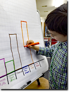 Boy drawing a graph