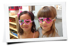 two girls wearing cute glasses