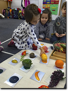 Girl identifying the fruits with the pictures