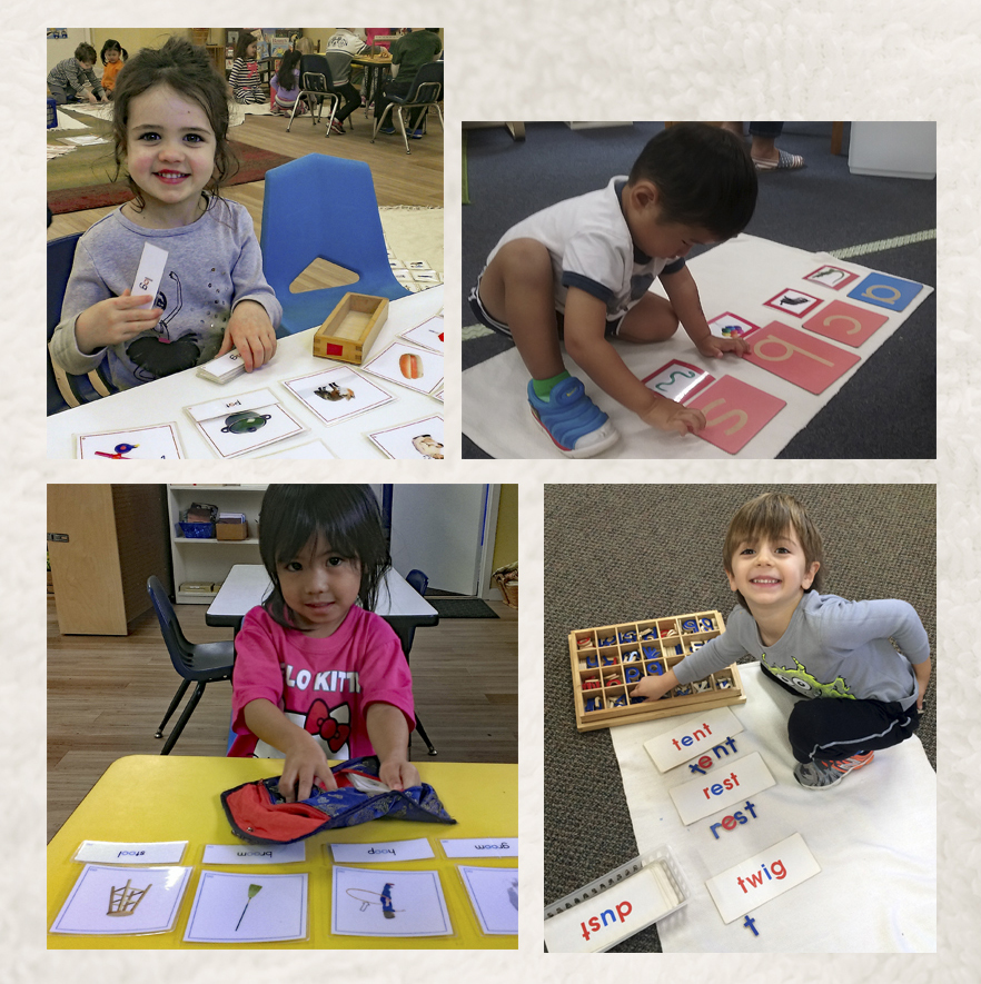 Montessori children learning about alphabet
